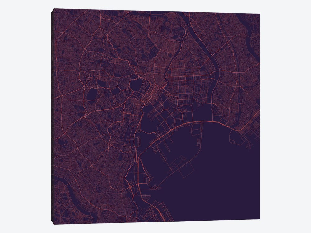 Tokyo Urban Roadway Map (Purple Night) by Urbanmap 1-piece Canvas Wall Art