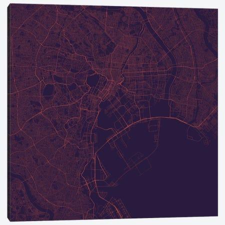 Tokyo Urban Roadway Map (Purple Night) Canvas Print #ESV372} by Urbanmap Canvas Print
