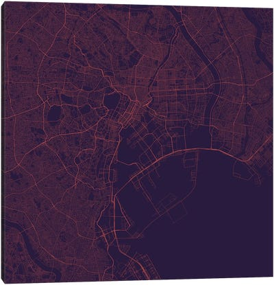 Tokyo Urban Roadway Map (Purple Night) Canvas Art Print
