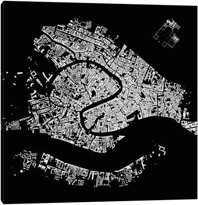 Venice Urban Map (Black) Canvas Print #ESV376