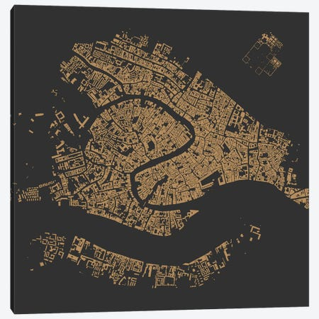 Venice Urban Map (Gold) Canvas Print #ESV378} by Urbanmap Art Print