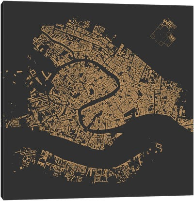 Venice Urban Map (Gold) Canvas Art Print