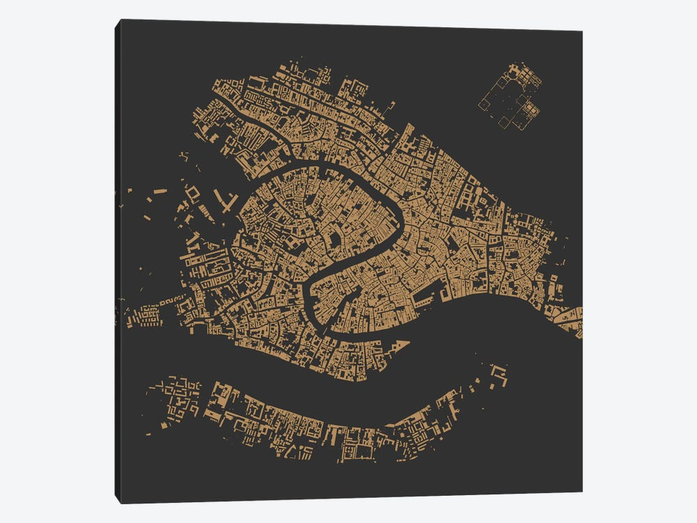 Venice Urban Map (Gold) by Urbanmap 1-piece Canvas Art