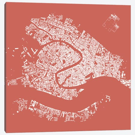 Venice Urban Map (Pink) Canvas Print #ESV380} by Urbanmap Canvas Wall Art