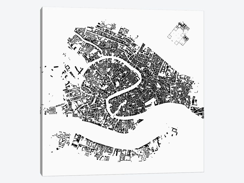 Venice Urban Map (White) by Urbanmap 1-piece Canvas Artwork