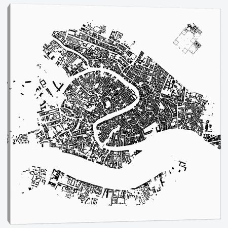 Venice Urban Map (White) Canvas Print #ESV383} by Urbanmap Canvas Wall Art