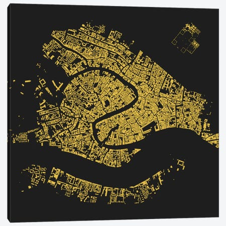 Venice Urban Map (Yellow) Canvas Print #ESV384} by Urbanmap Canvas Art Print