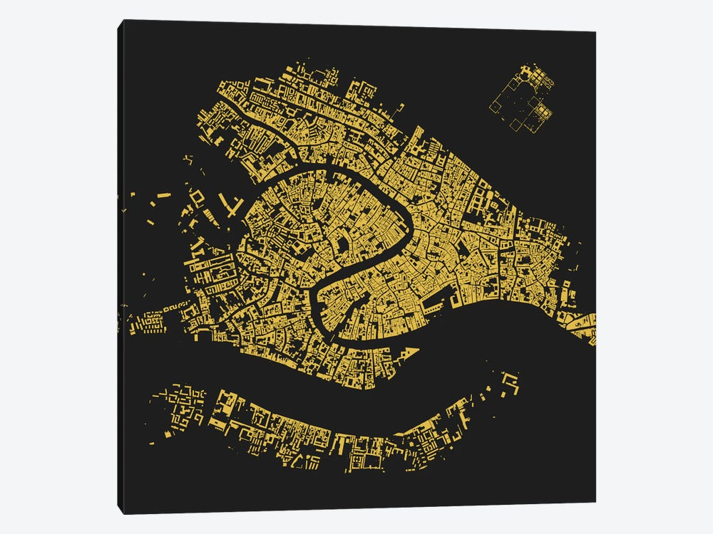 Venice Urban Map (Yellow) by Urbanmap 1-piece Art Print