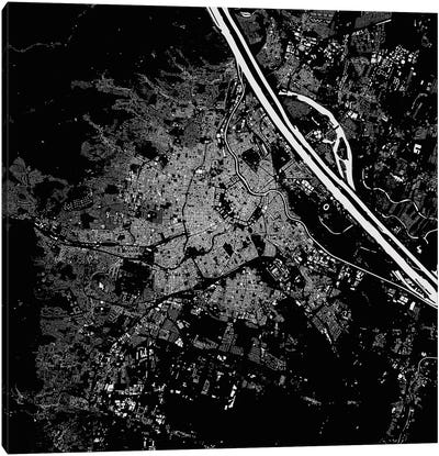 Vienna Urban Map (Black) Canvas Art Print