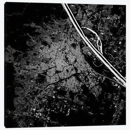 Vienna Urban Map (Black) Canvas Print #ESV385} by Urbanmap Art Print