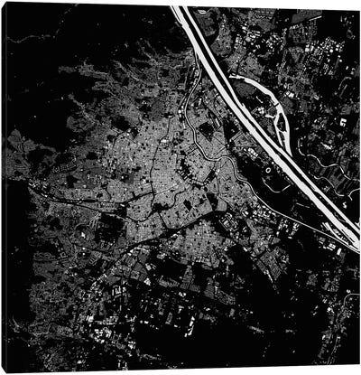 Vienna Urban Map (Black) Canvas Art Print