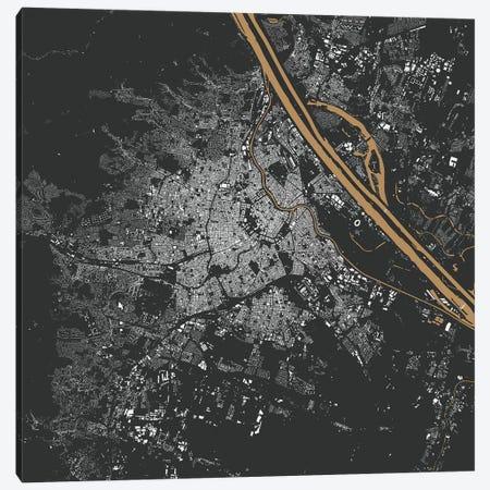 Vienna Urban Map (Gold) Canvas Print #ESV387} by Urbanmap Art Print
