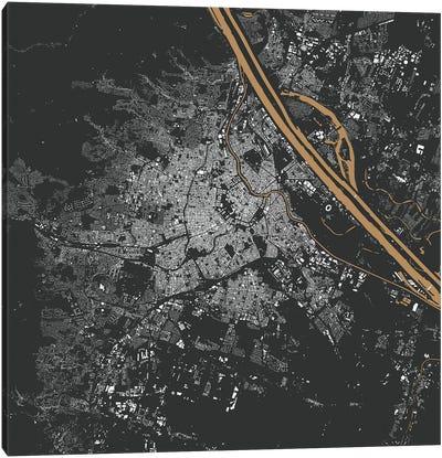 Vienna Urban Map (Gold) Canvas Art Print