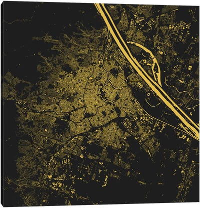 Vienna Urban Map (Yellow) Canvas Art Print
