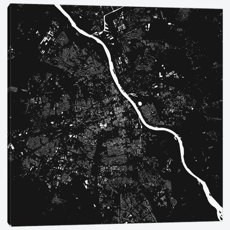 Warsaw Urban Map (Black) Canvas Print #ESV403} by Urbanmap Canvas Art Print