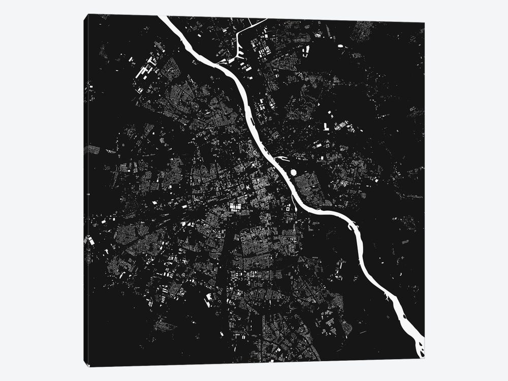 Warsaw Urban Map (Black) by Urbanmap 1-piece Canvas Art Print