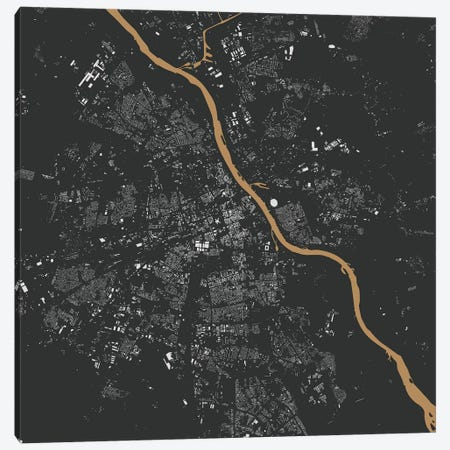 Warsaw Urban Map (Gold) Canvas Print #ESV405} by Urbanmap Canvas Artwork