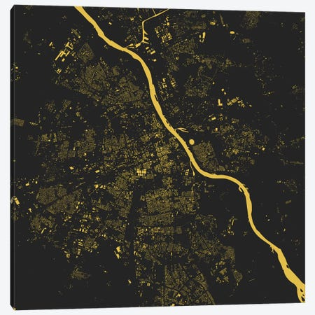 Warsaw Urban Map (Yellow) Canvas Print #ESV411} by Urbanmap Canvas Wall Art