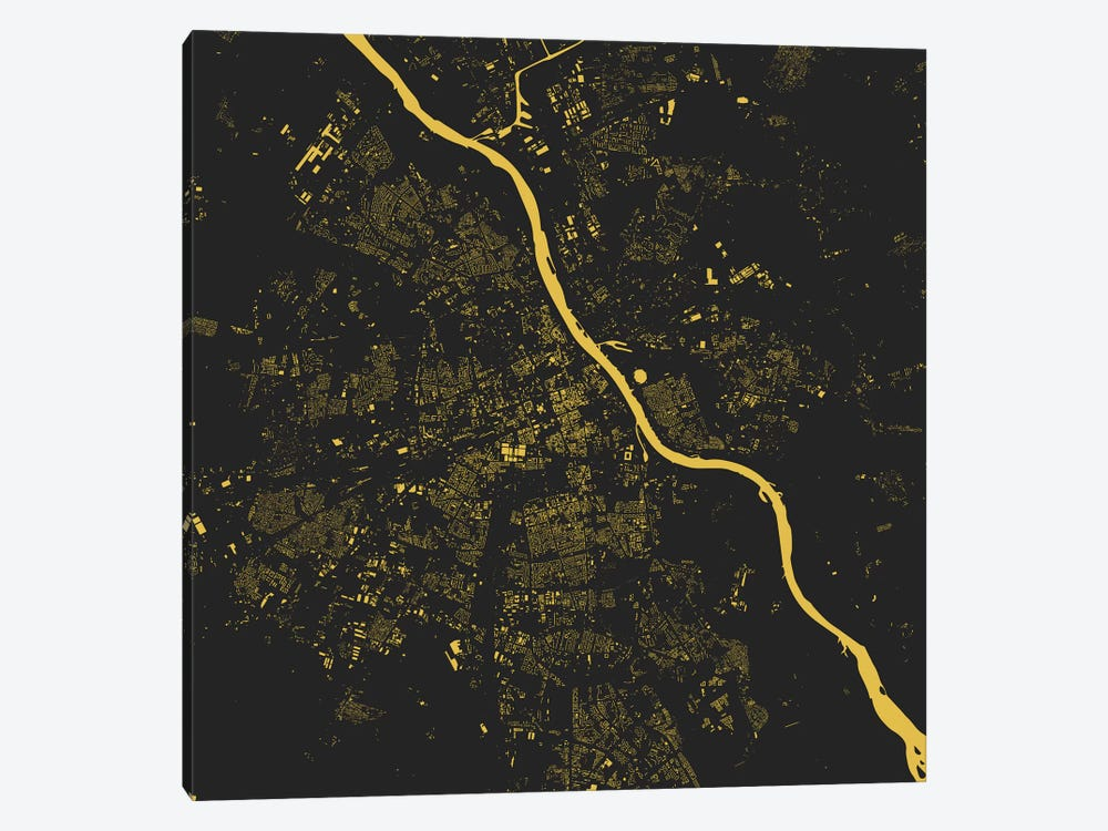 Warsaw Urban Map (Yellow) by Urbanmap 1-piece Canvas Artwork