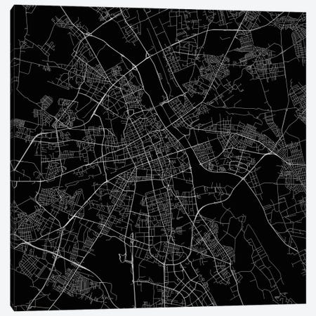 Warsaw Urban Roadway Map (Black) Canvas Print #ESV412} by Urbanmap Canvas Artwork
