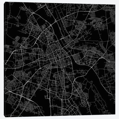 Warsaw Urban Roadway Map (Black) Canvas Print #ESV412} by Urbanmap Canvas Artwork