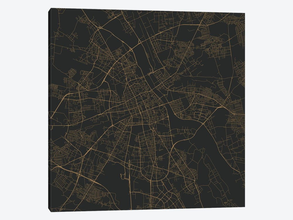 Warsaw Urban Roadway Map (Gold) 1-piece Canvas Art Print