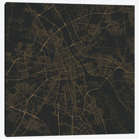 Warsaw Urban Roadway Map (Gold) Canvas Print #ESV414} by Urbanmap Canvas Print