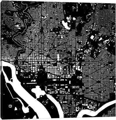Washington D.C. Urban Map (Black) Canvas Art Print