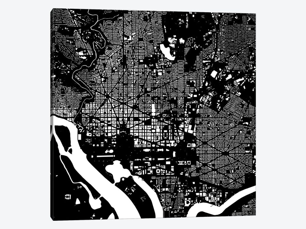 Washington D.C. Urban Map (Black) by Urbanmap 1-piece Art Print