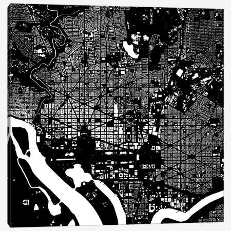 Washington D.C. Urban Map (Black) Canvas Print #ESV421} by Urbanmap Canvas Art Print