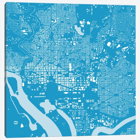Washington D.C. Urban Map (Blue) Canvas Print #ESV422} by Urbanmap Canvas Print
