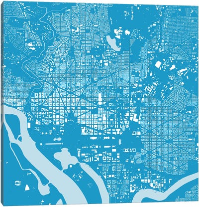 Washington D.C. Urban Map (Blue) Canvas Art Print