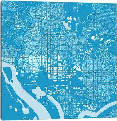 Washington D.C. Urban Map (Blue) Canvas Print #ESV422