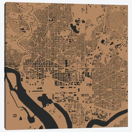 Washington D.C. Urban Map (Gold) Canvas Print #ESV423} by Urbanmap Art Print