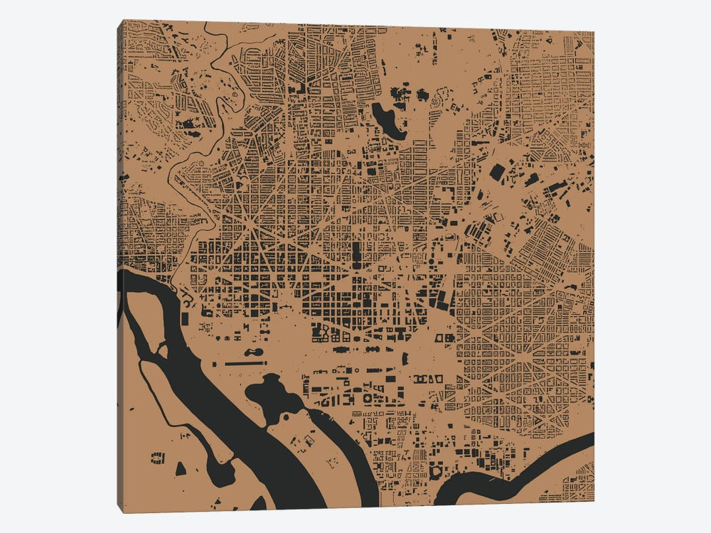 Washington D.C. Urban Map (Gold) by Urbanmap 1-piece Art Print
