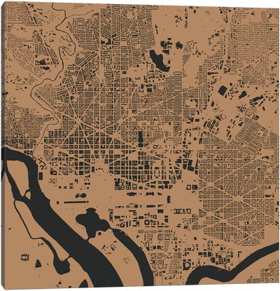 Washington D.C. Urban Map (Gold) Canvas Art Print