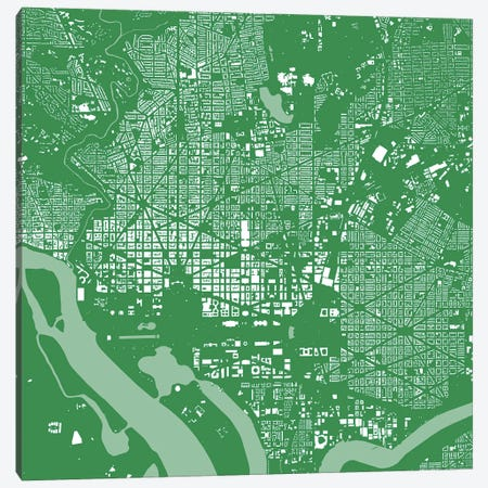 Washington D.C. Urban Map (Green) Canvas Print #ESV424} by Urbanmap Canvas Wall Art