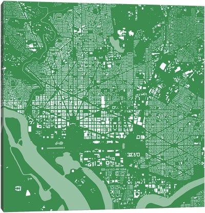 Washington D.C. Urban Map (Green) Canvas Print #ESV424