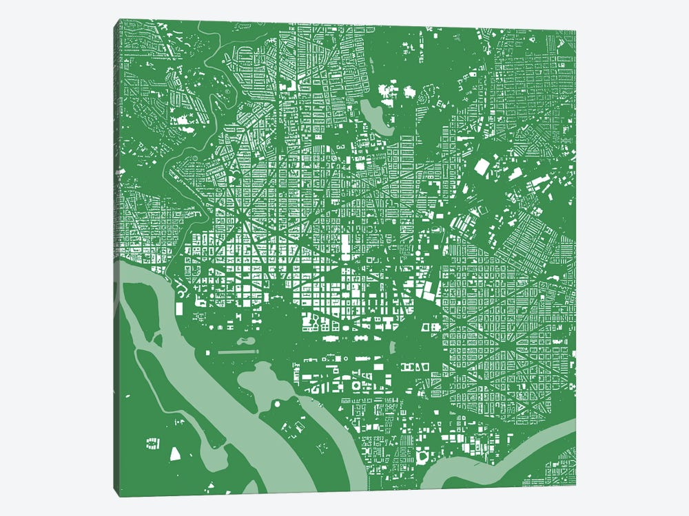 Washington D.C. Urban Map (Green) by Urbanmap 1-piece Canvas Art