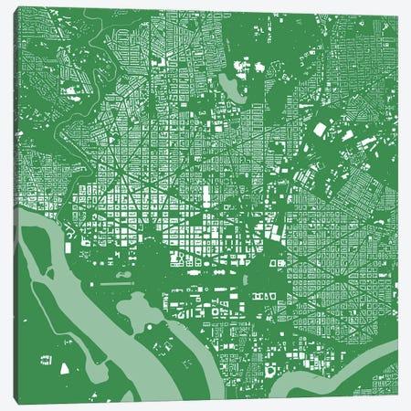 Washington D.C. Urban Map (Green) Canvas Print #ESV424} by Urbanmap Canvas Wall Art