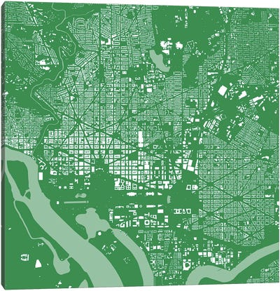 Washington D.C. Urban Map (Green) Canvas Art Print