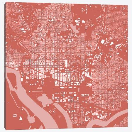 Washington D.C. Urban Map (Pink) Canvas Print #ESV425} by Urbanmap Canvas Art