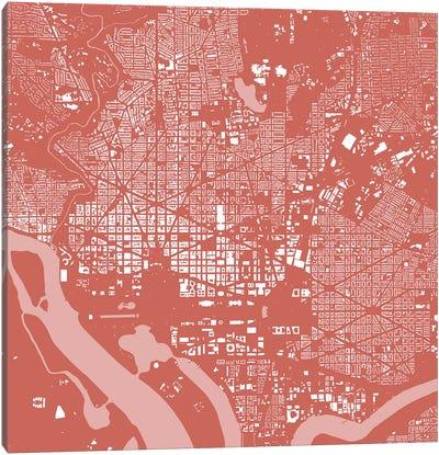 Washington D.C. Urban Map (Pink) Canvas Print #ESV425