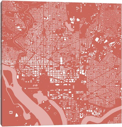 Washington D.C. Urban Map (Pink) Canvas Art Print