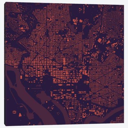 Washington D.C. Urban Map (Purple Night) Canvas Print #ESV426} by Urbanmap Canvas Art