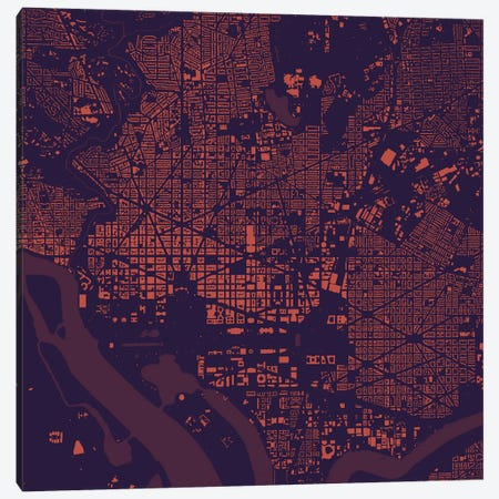 Washington D.C. Urban Map (Purple Night) Canvas Print #ESV426} by Urbanmap Canvas Art