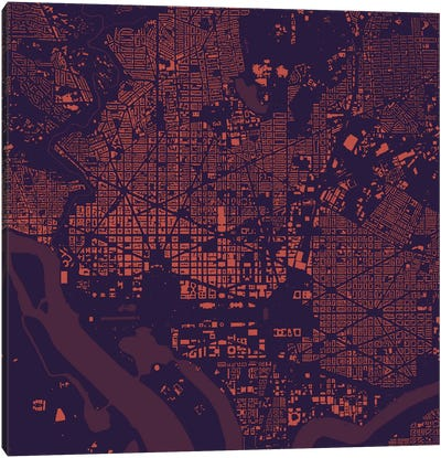 Washington D.C. Urban Map (Purple Night) Canvas Art Print
