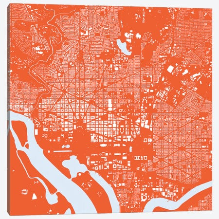 Washington D.C. Urban Map (Red) Canvas Print #ESV427} by Urbanmap Canvas Artwork