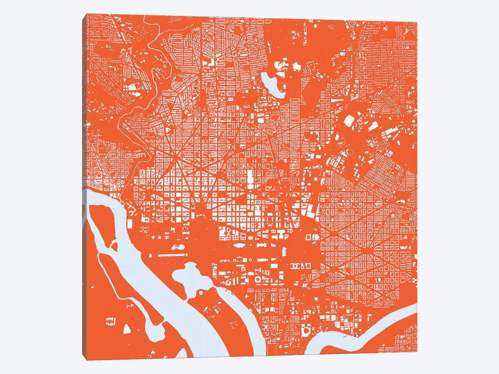 Washington D.C. Urban Map (Red) by Urbanmap 1-piece Canvas Art Print