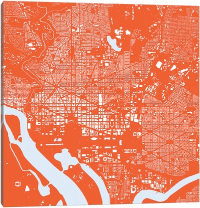 Washington D.C. Urban Map (Red) Canvas Art Print
